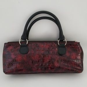 Burgundy Reptile Print Insulated Wine Travel Bag